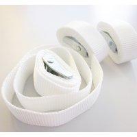 Witte polyester band 1 meter lang met metalen gesp